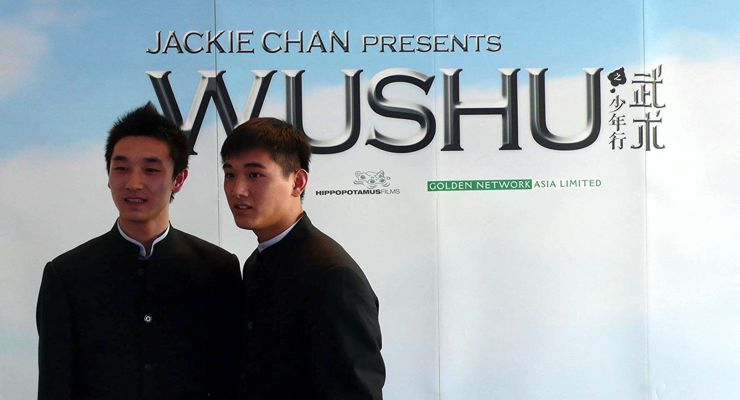 Liu Fengchao (L) and Wang Wenjie (R) at the Wushu photocall at Cannes 08