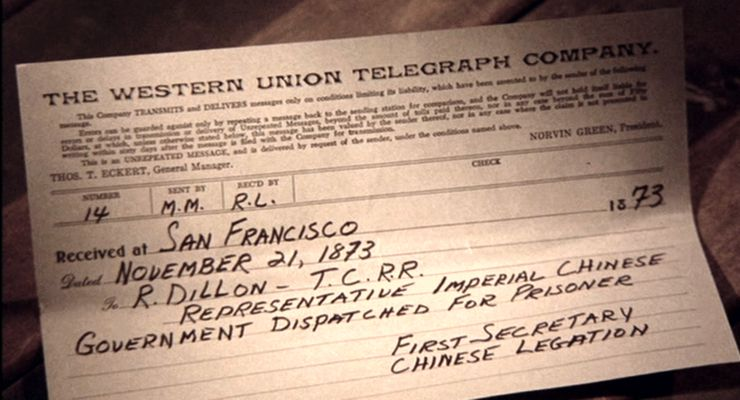 Telegram from Imperial Chinese Government about Kwai Chang Caine