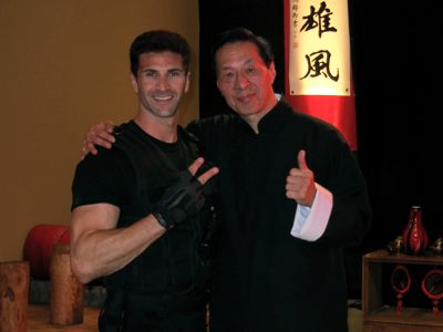 Steven Dell and Samuel Kwok on the set of Assassin X