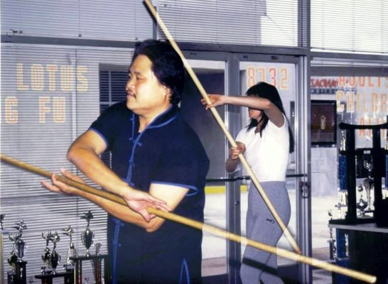 Lucy Lawless training with Doug Wong for Xena at White Lotus Studio Northridge, CA.