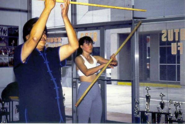 Lucy Lawless training for Xena at White Lotus Studio Northridge, CA.