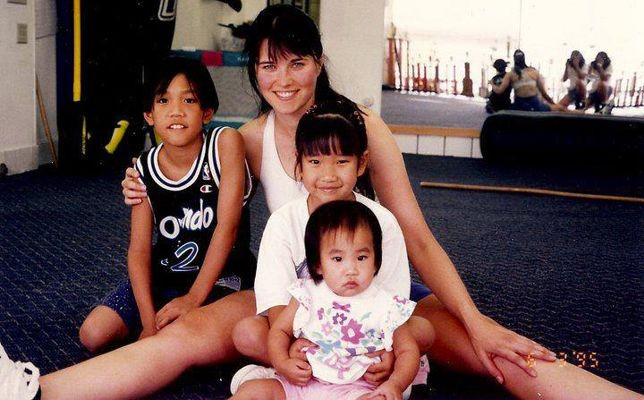 Lucy Lawless with the Wong children at White Lotus Studio Northridge, CA.