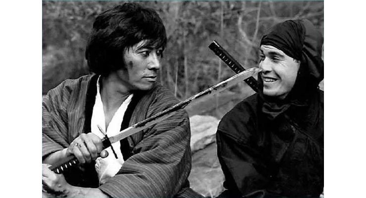 Sho Kosugi and his faithful double Steve Lambert on set.