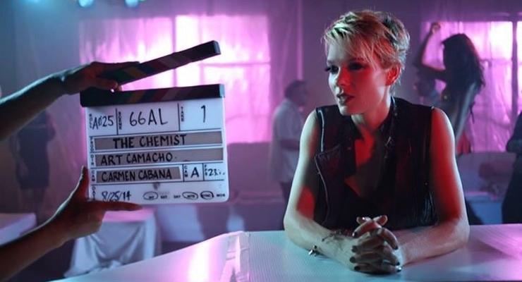Nina Bergman filming The Chemist