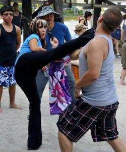 Cynthia Rothrock fighting bully, Eric Koveleski