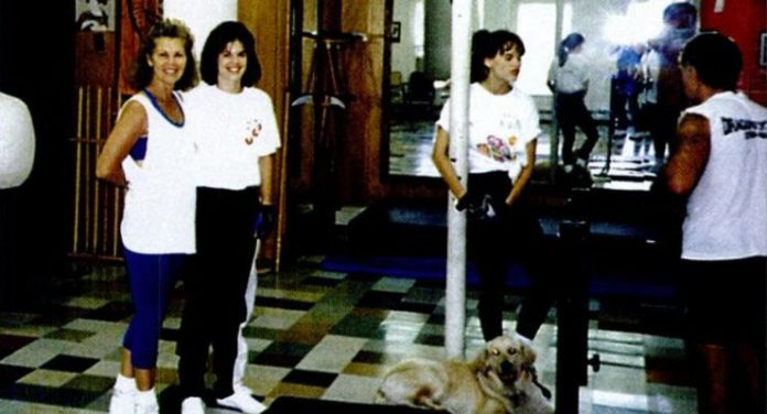 Barbara Bernhardt with Hillary Swank, and Christine Bannon Rodrigues in a rehearsal for the Next Karate Kid.