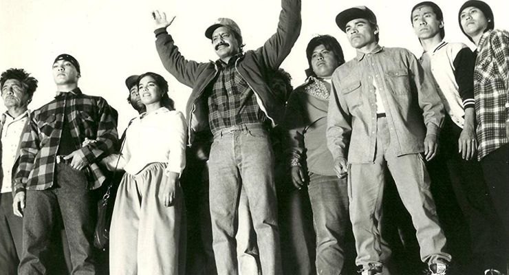 Jason Scott Lee, Cheech Marin, Ted Lin, Sal Lopez, Kamala Lopez, and Jee Teo in Born in East L.A. (1987)