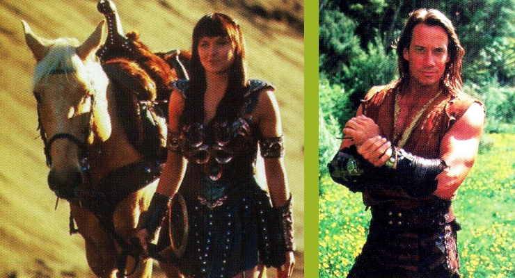 Lucy Lawless as Xena, Warrior Princess and Kevin Sorbo as Hercules.