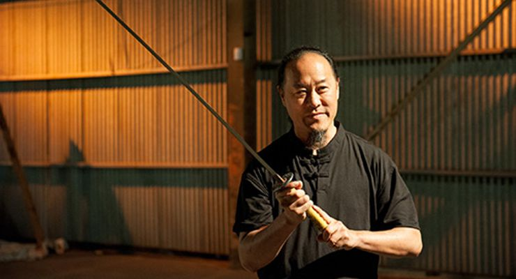 Gene Ching with a Baltimore Knife & Sword Katana on Man At Arms: Art Of War