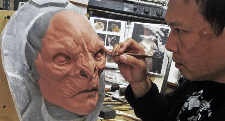 Steve Wang working on Face Sculture