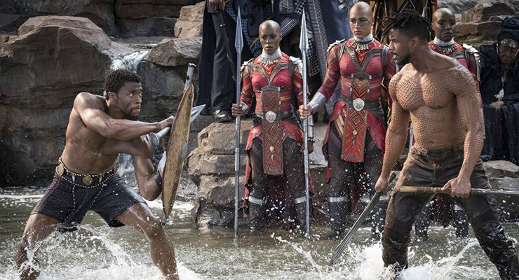 Michael B. Jordan, Chadwick Boseman, and Janeshia Adams-Ginyard in Black Panther (2018)
