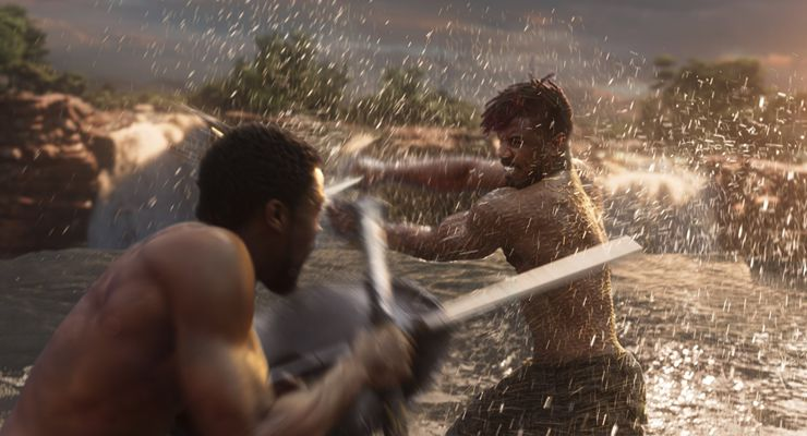 Michael B. Jordan and Chadwick Boseman in Black Panther (2018)