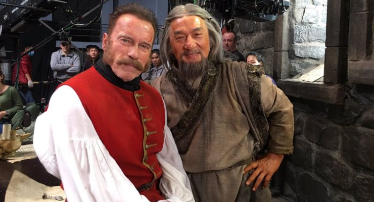 Arnold Schwarzenegger and Jackie Chan on the set of The Mystery of Dragon Seal: The Journey to China (2019)