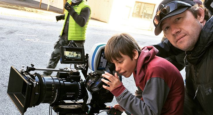"""Darrin Prescott with his """"A"""" camera operator, directing action on BABY DRIVER."""