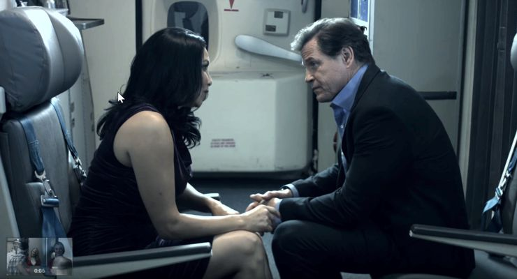 Crystal Santos and Michael Paré in MAYDAY (2017)