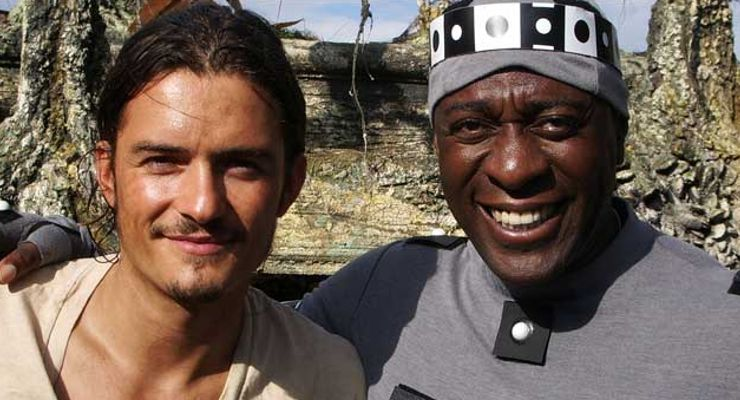 Orlando Bloom and Winston Ellis Pirates of the Caribbean