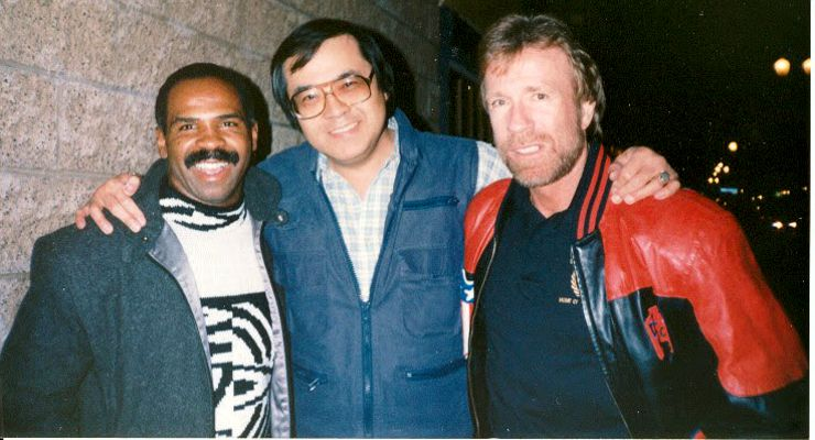 Roger Lowe with Howard Jackson and Chuck Norris from The Delta Force (1986).