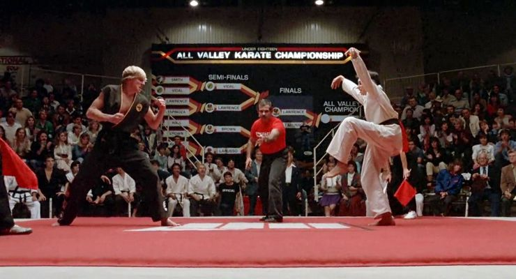 William Zabka and Ralph Macchio in The Karate Kid (1984)