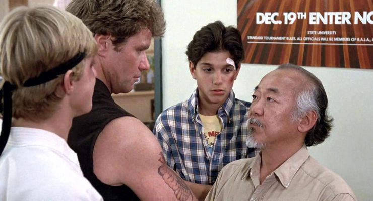 William Zabka, Martin Kove, Ralph Macchio, and Pat Morita  in The Karate Kid (1984)