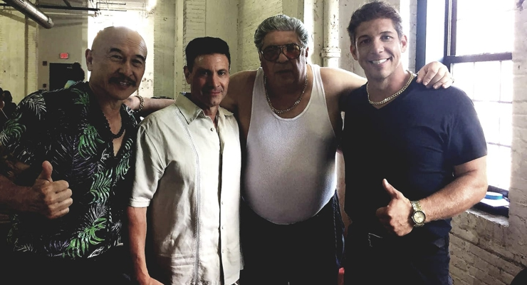 James Lew, William DelMeo, Vincent Pastore and Eric Kovaleski in the cast of Made in Chinatown (2019)