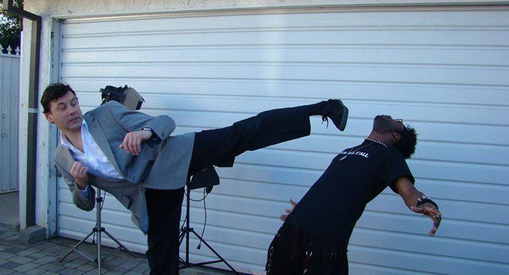 Gary Wasniewski kicking onset Kill Factor movie.