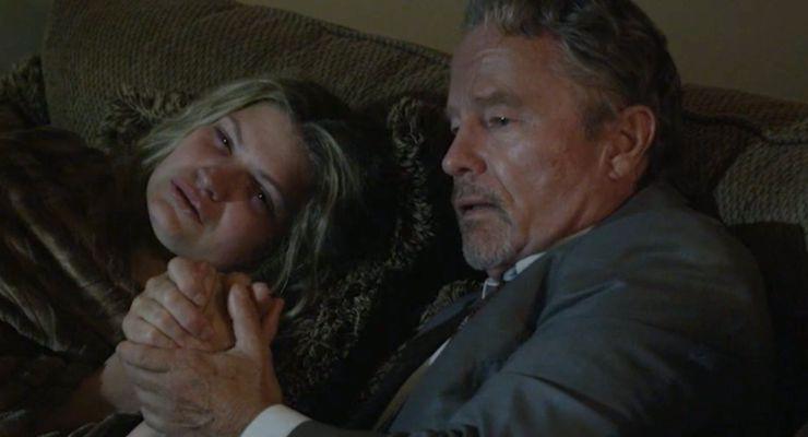 Kaiti Wallen and John Savage in Betrayed (2018)
