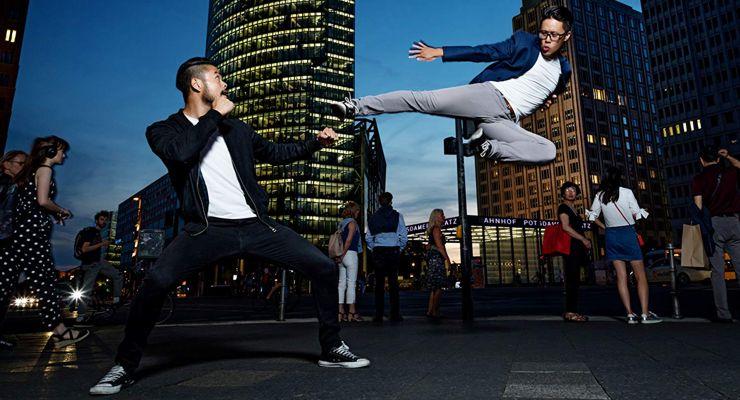Cha-Lee Yoon doing a flying side kick.