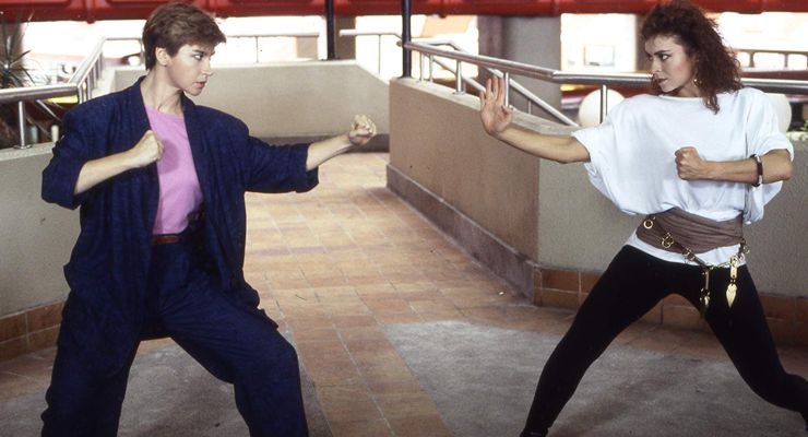 Cynthia Rothrock and Karen Sheperd in in Righting Wrongs (1986)