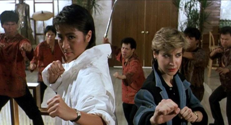 Michelle Yeoh and Cynthia Rothrock in Yes, Madam! (1985).