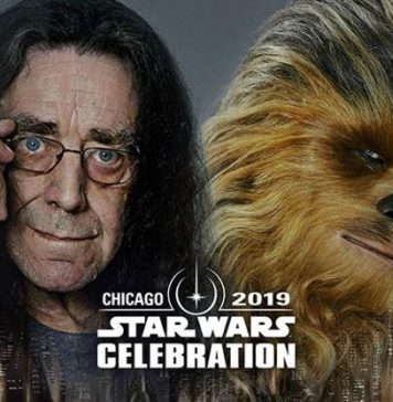 Peter Mayhew and his character Chewbacca from Star Wars