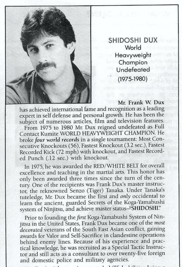 Frank Dux Newspaper Biography