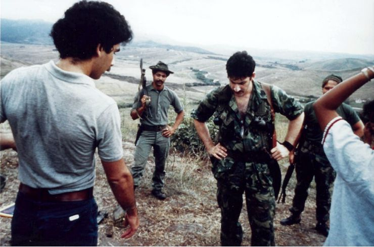 Sheldon Lettich and Frank Dux working on Firefight (1983)