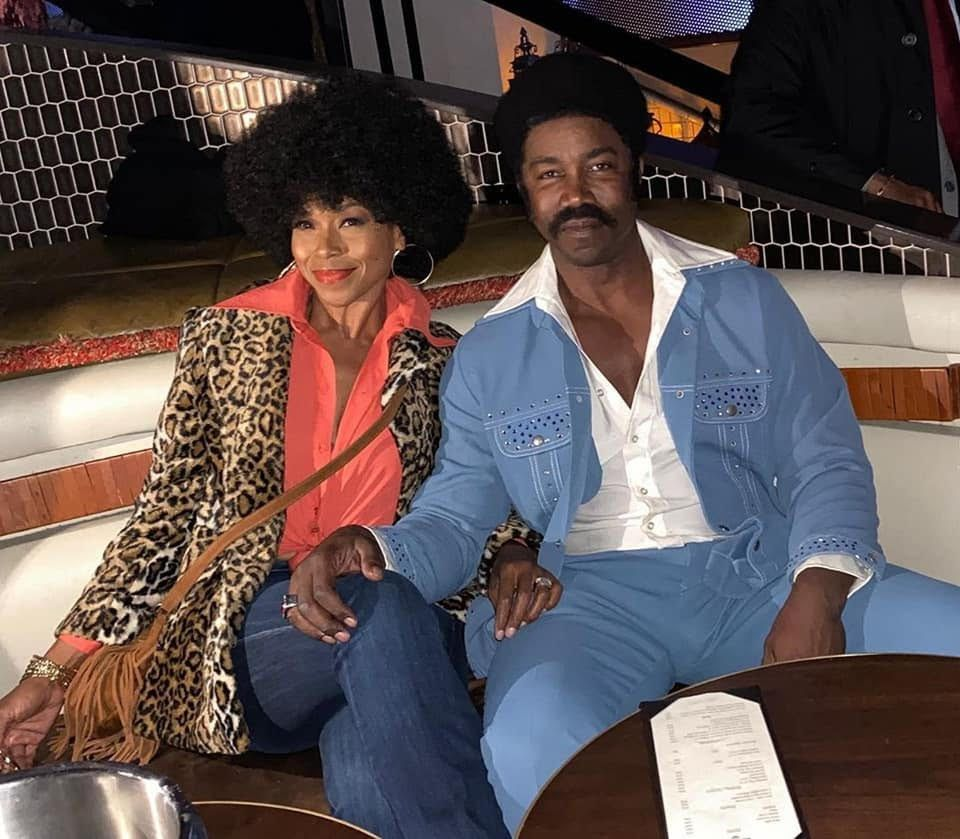 Michael Jai White and wife, Gillian Iliana Waters at The Black Dynamite 10th Anniversary Throwback 70's Jam.