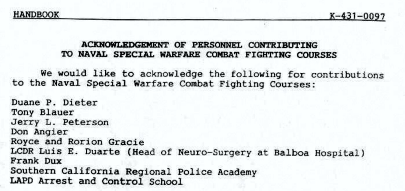 Contribution to Naval Special Warfare Combat Fighting Courses