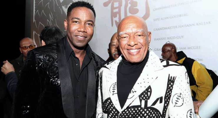 Michael Jai White and Ron Van Clief at the Mantle of the Dragon Ceremony.